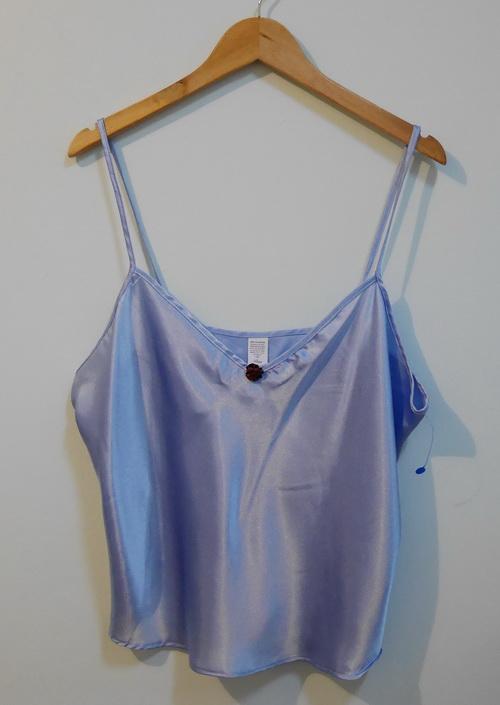 jp3486 เสื้อนอน สายเดี่ยว ผ้าซาตินสีฟ้า Petra Fashions ไซค์ 1X งาน U.S.A. รอบอก 46-48 นิ้ว