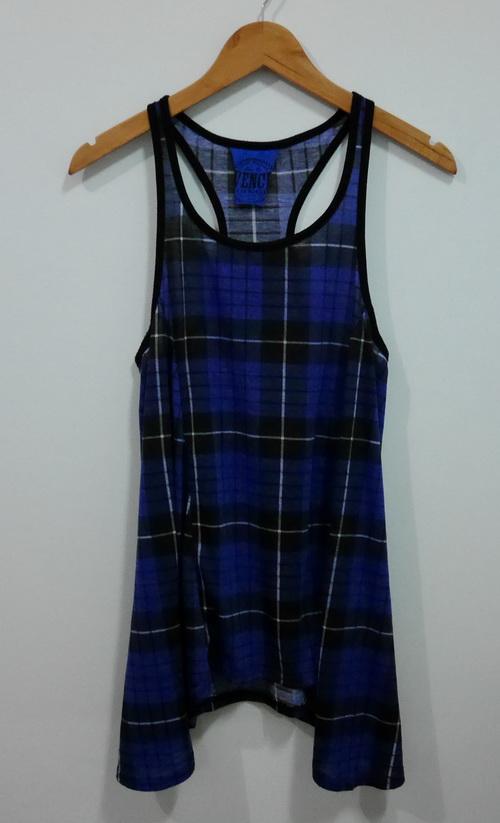 jp4097 เสื้อกล้ามผ้ายืด ลายตาราง รอบอก 34-36 นิ้ว