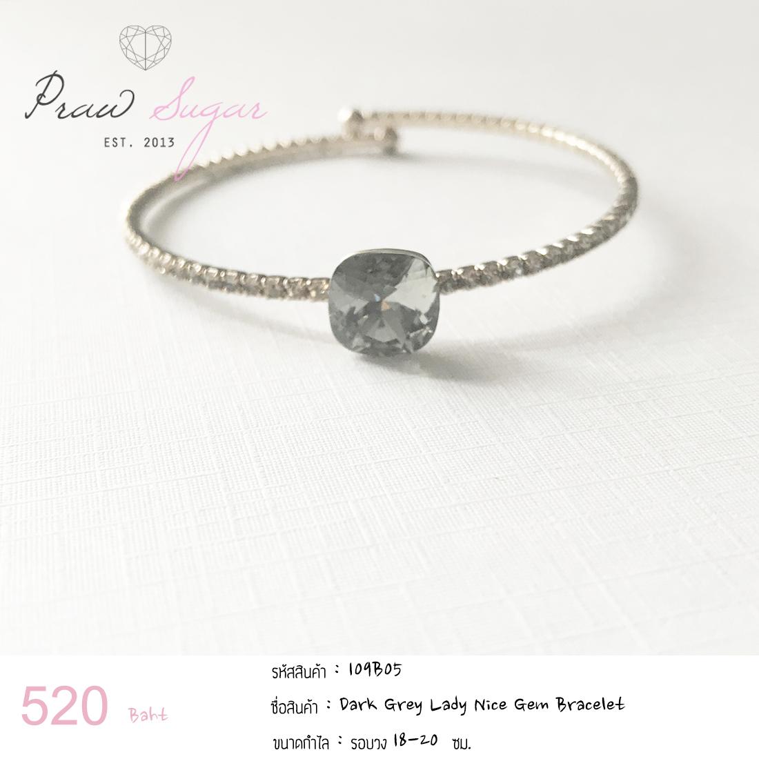Dark Grey Lady Nice Gem Bracelet