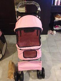 รถเข็นสุนัข คันเล็ก รุ่น E สีชมพู