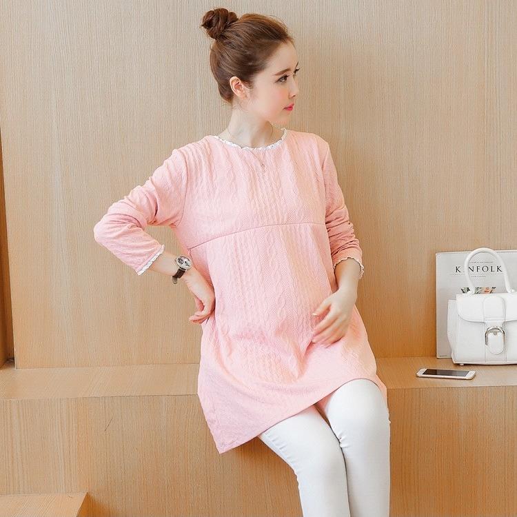 เสื้อคลุมท้องแขนยาวสีชมพูโอรส มีซิปเปิดให้นมได้ ผ้าลายนูน งานดี ผ้าหนานิ่มใส่สบายมากๆค่ะ