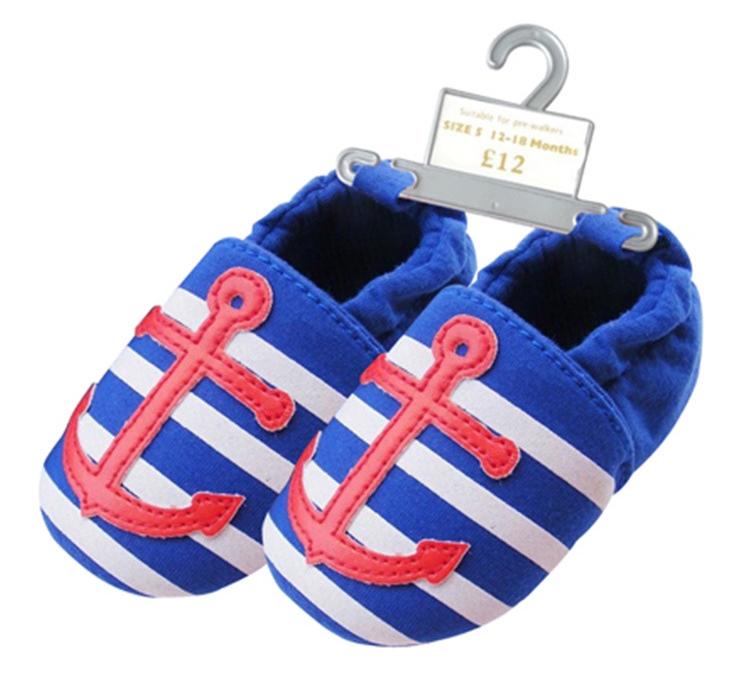 รองเท้าเด็กอ่อน 0-12เดือน รองเท้าเด็กชาย เด็กหญิง สีฟ้าลายสมอแดง