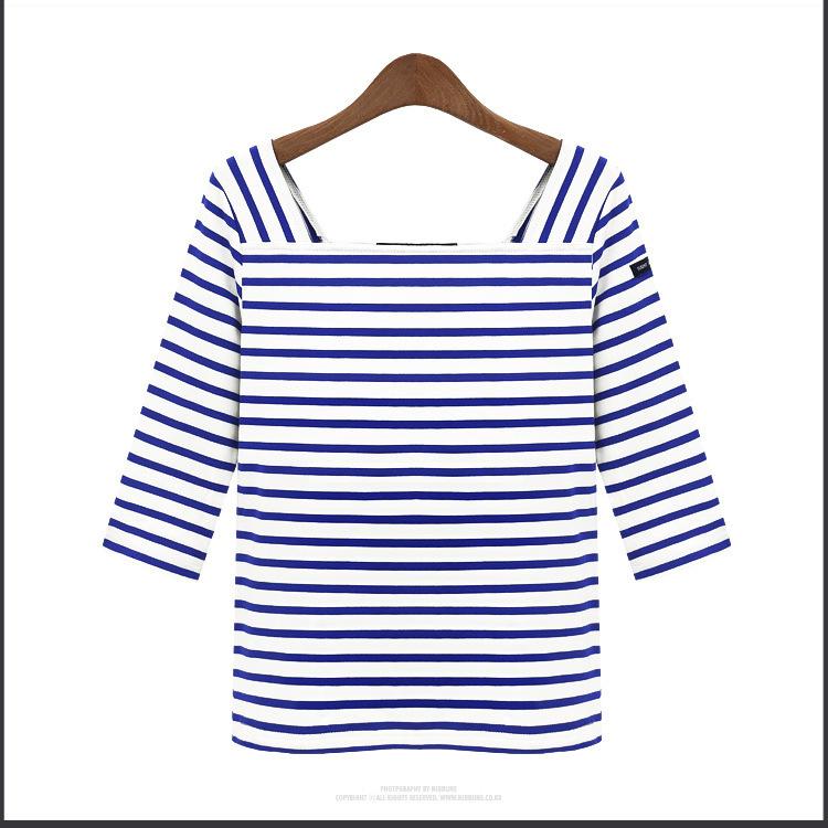 Cherry Dress เสื้อลายขวาง สีน้ำเงิน ผ้า Cotton ผสม Spandex