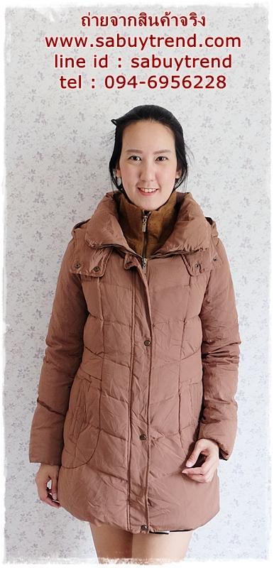 ((ขายแล้วครับ))((คุณPorจองครับ))ca-2859 เสื้อโค้ทขนเป็ดสีน้ำตาล รอบอก40