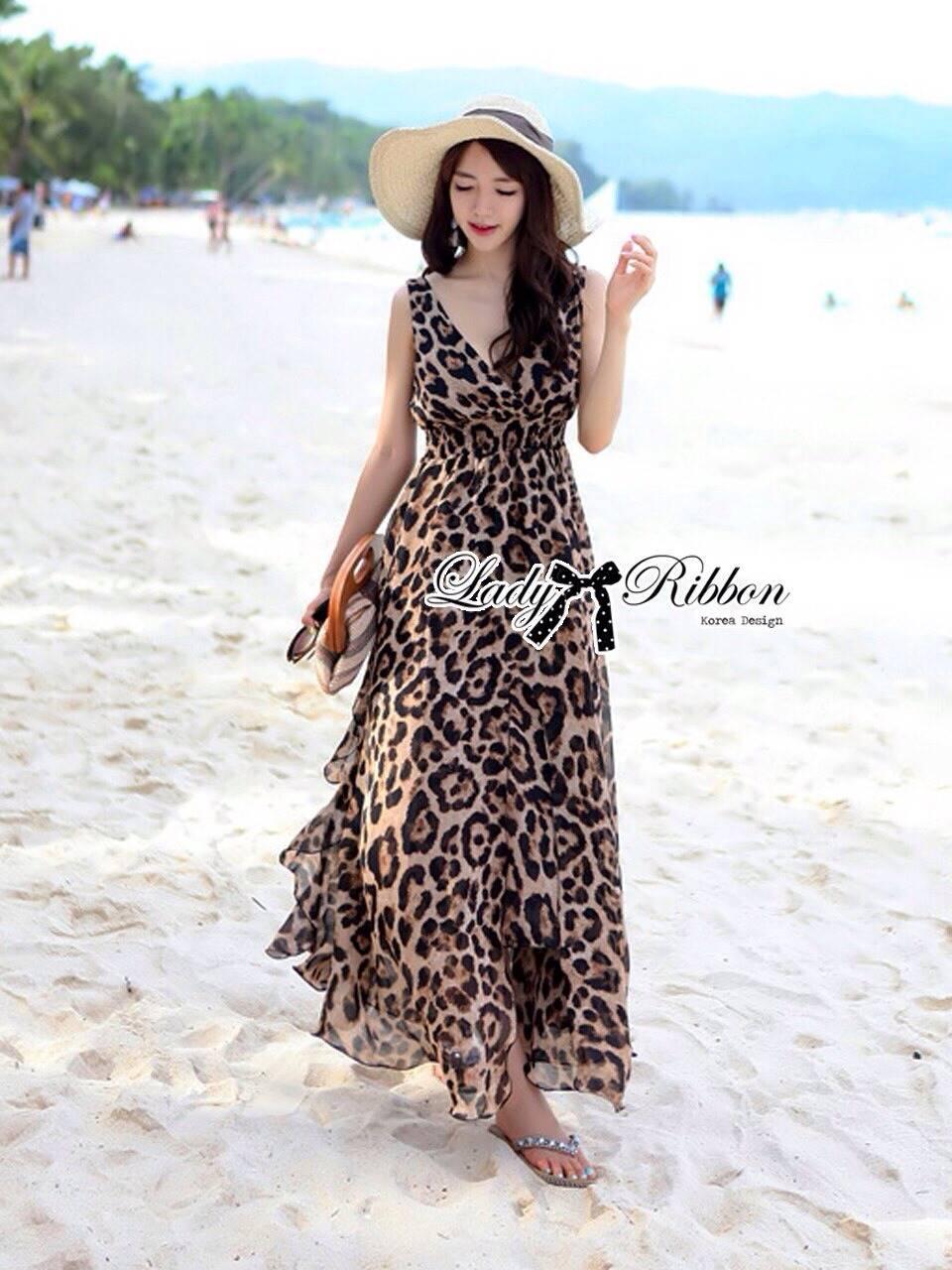 Lady Ribbon Sassy Leopard Maxi เดรสชีฟอง ลายเสือดาว